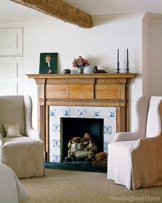 Explore images of stylish traditional fireplace mantels for inspirational design ideas on your own living room project from top designers FREE! Fireplace Tile Surround, Fireplace Surrounds, Tiled Fireplace, Fireplace Ideas, Fireplace Mantles, Cosy Home, Delft Tiles, Bedroom Fireplace, New England Homes