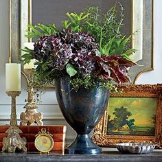A Bouquet That's Here to Stay - Create a Stunning Fall Hydrangea Arrangement - Southernliving. An elegant setting calls for a refined and stylish floral composition. Just ask horticulturist Wendy Gamble of Leaf Hydrangea Arrangements, Hydrangea Bouquet, Fall Arrangements, Hydrangeas, Hydrangea Potted, Hydrangea Garden, Flower Centerpieces, Smooth Hydrangea, Hydrangea Not Blooming