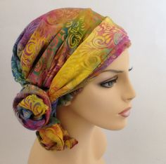 Carnival Floral Turban Hat, Alopecia Scarf, Chemo Hat, Spring 2014, Blue, Purple Yellow, Pink, Hat & Scarf Set