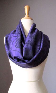 Deep purple scarf eggplant scarf rose infinity by ScarfObsession