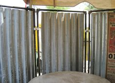 INDUSTRIAL UPCYCLED STEAM PUNK TIN METAL ROOM DIVIDER OUTDOOR SHOWER ENCLOSURE