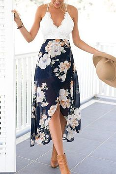 392764a512801 Backless Floral Print Chiffon Dress Beautiful Patchwork, Lace Embroidery V  Neck with Open Back Sheer Beach Dress with High Low Slip Back Zipper Style:  Beach ...