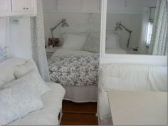 Inside, everything has been painted white – it's hard to tell it's a vintage trailer - just darling!