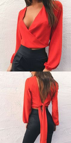 72cc22d0f3fd1 Red V-neck Bow Tie Detail Open Back Long Sleeve Blouse - Choies.com