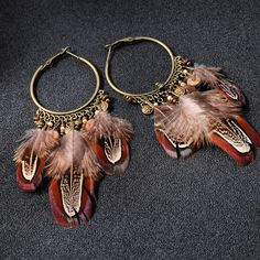 Spring/Summer Party Style Large Feathers Hanging Earrings, Summer Party Ornaments Clubbings Chandelier/Tassel Earrings by Deptgoldenpineapple on Etsy Hanging Earrings, Tassel Earrings, Drop Earrings, Vintage Bohemian, Bohemian Style, Party Fashion, Boho Fashion, Large Feathers, Bronze