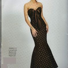 formal gown Beautiful brown with gold poka dots mermaid style formal. Jovani Dresses Maxi