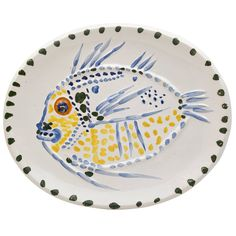 Picasso Ceramic Fish Platter | From a unique collection of antique and modern pottery at https://www.1stdibs.com/furniture/dining-entertaining/pottery/