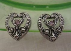 Vintage Heart Shaped Earrings Dainty Pink by Sisters2Vintage, $14.00