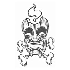 Tiki Mask With Bones Tattoo Design Art Drawings Sketches Simple, Tattoo Sketches, Tiki Maske, Tiki Tattoo, Tiki Head, Petit Tattoo, Tiki Totem, Tiki Art, Bone Tattoos