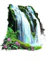 Tropical Waterfall by thorr on DeviantArt Mountain Sketch, Mountain Drawing, Tropical Flower Tattoos, Tropical Flowers, Fall Drawings, Pencil Drawings, Pencil Art, Waterfall Drawing, Nature Drawing