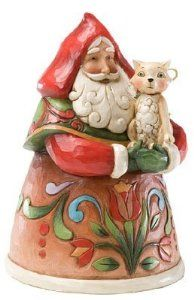 Jim Shore Purrfect Christmas Small Santa with Cat Figurine