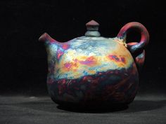 Small rounded Raku teapot. Carter Pottery