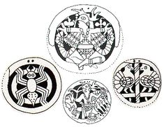 Cherokee native shell gorget with 'Water spider' motif