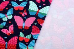 Teplákovina s potiskem barevných motýlů 8439/009 - Terry móda