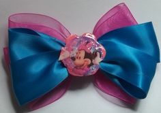 Pink And Turquoise Minnie Mouse Hair Bow | Jenstardesigns - Accessories on ArtFire