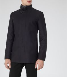 Mens Navy Double Collar Coat - Reiss Wolf