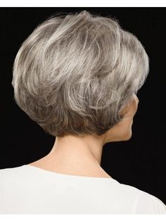 Chic Cropped Bob Wigs With Feathered Layers And A Subtly Notched Nape Grey Hair Wig, Short Grey Hair, Short Hair With Layers, Short Hair Cuts For Women, Layered Hair, Short Layered Bob Haircuts, Short Hairstyles For Thick Hair, Wig Hairstyles, Short Hair Styles