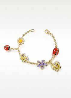 AZ Collection Garden Line - Enamel Gold Plated Charm Bracelet
