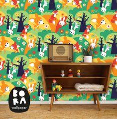 Wil je een originele kinderkamer? In de webshop van by-bora.com vind je dit toffe behang!
