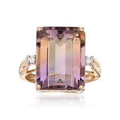 Love the cut of the diamond! Ross-Simons - Carat Ametrine Ring With Diamonds In Yellow Gold Body Jewelry, Jewelry Rings, Jewelry Accessories, Fine Jewelry, Jewelry Design, Jewelry Box, Designer Jewelry, Jewellery, Bling Bling