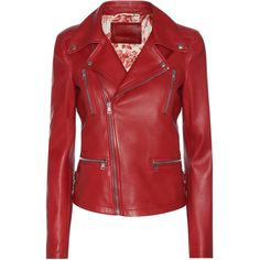 Gucci Leather Biker Jacket ($4,200) ❤ liked on Polyvore featuring outerwear, jackets, red, rider jacket, genuine leather biker jacket, 100 leather jacket, red jacket and moto jacket
