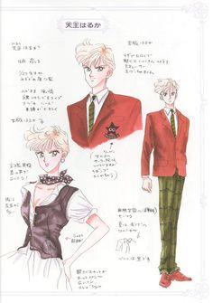 """天王はるか/セーラーウラヌスのキャラクターデザイン character design sheet for Haruka Tenoh / Sailor Uranus from """"Sailor Moon"""" series by Naoko Takeuchi"""