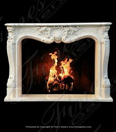 Marble Mantels | Fireplace Mantles | Marble Fireplaces | Hearths | Mantels | Custom Designed French Style Marble Fireplace  French Style Marble Fireplace  MFP-1117