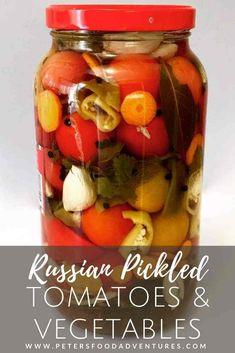 Enjoy your fresh, garden tomatoes by preserving them Russian-style. Pickled Tomatoes (солёные помидоры) with garlic and fresh herbs. I stuff extra vegetables between the tomatoes to make pickled vegetables too. These canned tomatoes are a staple year round. Pickled Tomatoes, Pickled Beets, Tomato Vegetable, Vegetable Dishes, Fruit Jelly Recipe, Can Chicken Recipes, Compote Recipe, Fermented Cabbage, Russian Recipes