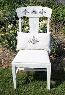Damask chair with matching pillow.
