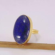 Natural Lapis Lazuli Ring - Oval Shape Ring - Gold Plated Ring - Single Stone Ring - Blue Gemstone Ring - Statement Ring - Brass Ring - Women Ring