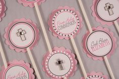 First Holy Communion Cupcake Toppers Set of 24 Blue by TootnBoo