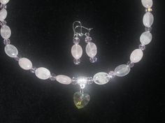 Rose Quartz and Crystal Pendant with matching by MDJewelCraft, $30.00