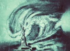 Statue of liberty facing tsunami - amanda's imaginarium - drawings Pencil Drawings Of Flowers, Pencil Drawing Tutorials, Sketches Of People, Drawing People, Easy Video, Good Cause, Old Paper, Tsunami, Pencil Art