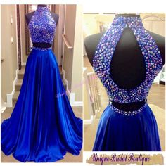 2016 Beaded Neck Prom Dresses With Sexy Keyhole Back And Rhinestones Real Pictures High Neck Beaded Royal Blue Satin Two Pieces Prom Gowns Prom Dress Formal Dresses From Uniquebridalboutique, $142.41| Dhgate.Com