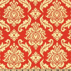 Aviary 2 Damask Saffron from @fabricdotcom  Designed by Joel Dewberry for Free Spirit Fabric, this cotton print fabric features an all over damask design.  Colors include orange and yellow. Use fabric for quilts, home decor accents and craft projects.
