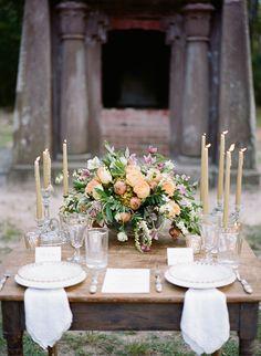 Beautiful Organic Tablescape   Elegant Organic Southern Bridal Inspiration