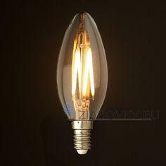 FILAMENT žiarovka - CANDLE - E14, Teplá biela, 2W, 280lm (3) Lamp Light, Light Bulb, Led Candle Lights, E14 Led, Leaded Glass, Led Lamp, Retro, Lighting, Antiques