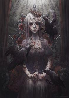 (SD) Bloody Princess by Anastasia Zhamoitina Gothic Fantasy Art, Fantasy Artwork, Arte Horror, Horror Art, Gothic Kunst, Arte Steampunk, Beautiful Dark Art, Arte Obscura, Image Manga