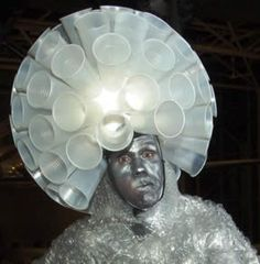 Costume made from all recycled materials!  Bubble Wrap Man!