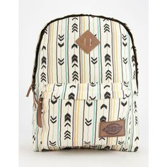 Dickies Arrow Print Backpack ($37) ❤ liked on Polyvore featuring bags, backpacks, brown combo, zip bags, faux leather backpack, pattern backpack, zippered faux leather backpack and print backpacks