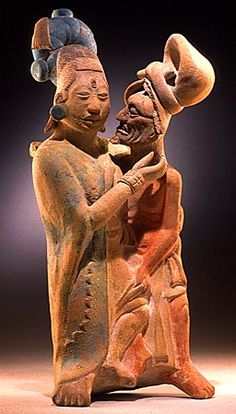 """""""Embracing Couple""""  700-900; Maya; Terracotta; height 24 cm (9 in.); Founders Society Purchase, Katherine Margaret Kay Bequest Fund, and New Endowment Fund; 77.49  Detroit Institute of Arts"""