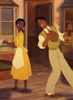 *TIANA & PRINCE NAVEEN ~ The Princess and the Frog, smoothed her apron and the skirt of her yellow shirt-waist dress before going outside Disney Pixar, Tiana Disney, Disney And Dreamworks, Disney Cartoons, Disney Magic, Disney Art, Disney Movies, Disney Characters, Disney Animation