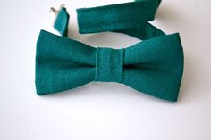 Boys Bowtie Ages 2-10 in Teal Linen by AmandaJoHandmade on Etsy