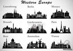 Vecteur : Western Europe Cities skylines set. Vector silhouettes