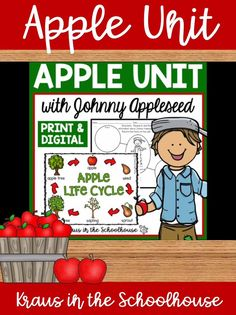 This printable and TpT digital apple unit study is perfect for kindergarten, 1st grade, and 2nd grade students. Fun activities and worksheets for kids to learn facts all about Johnny Appleseed, label the life cycle and diagram of an apple, make patterns, color by number, write about our senses, and complete a word search. Children will also create an A-Z book all about apples. These fall activities can be used to decorate bulletin boards. #apples #johnnyappleseed #appleactivities