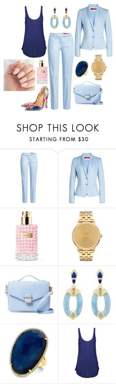 """Work Ready: Shades of Blue"" by yjmunson ❤ liked on Polyvore featuring HUGO, Valentino, Nixon, Cynthia Rowley, Cristina Sabatini, Agent Ninetynine and Christian Louboutin"