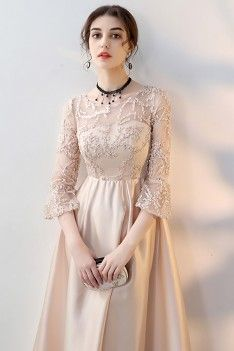 Shop Champagne Long Formal Dress Aline with Sleeves online. SheProm offers formal, party, casual & more style dresses to fit your special occasions. Evening Dresses, Prom Dresses, Formal Dresses, Wedding Dresses, Beautiful Girl Image, Beautiful Gowns, Hijab Dress Party, Velvet Gown, Custom Dresses
