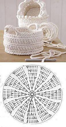 Handmade: Crochet baskets - 37 designs and . - DIY Handmade: Crochet baskets - 37 designs and . -DIY Handmade: Crochet baskets - 37 designs and . - DIY Handmade: Crochet baskets - 37 designs and . Crochet Diy, Crochet Bag Tutorials, Crochet Bowl, Crochet Basket Pattern, Crochet Chart, Crochet For Beginners, Crochet Doilies, Crochet Stitches, Crochet Projects