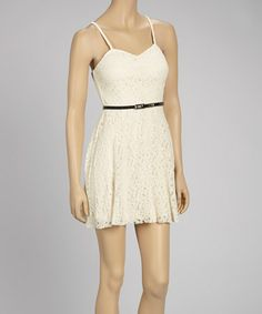 Look what I found on #zulily! Ivory Lace Sleeveless Dress #zulilyfinds