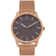 UNKNOWN watches The Classic rose gold tone watch (535 SAR) ❤ liked on Polyvore featuring jewelry, watches, rose gold tone jewelry, quartz movement watches, stainless steel watches, stainless steel jewellery and unisex jewelry